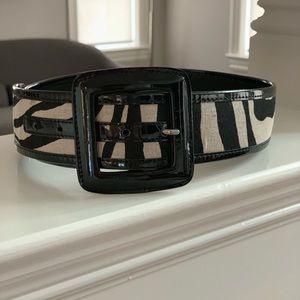 Banana Republic Black Patent & Zebra Print Belt